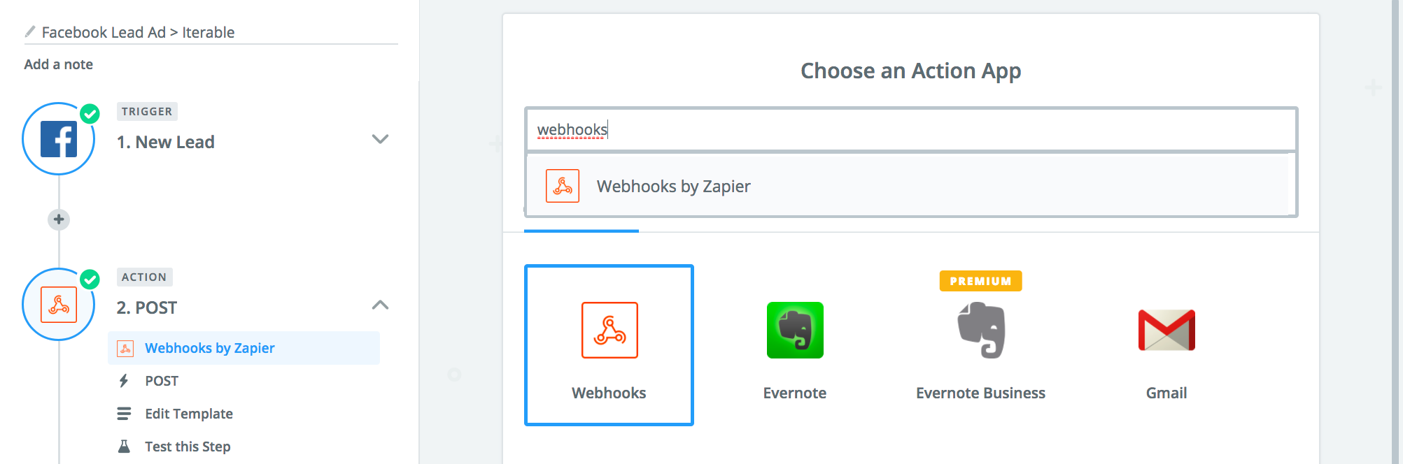 Selecting Webhooks as the Action app