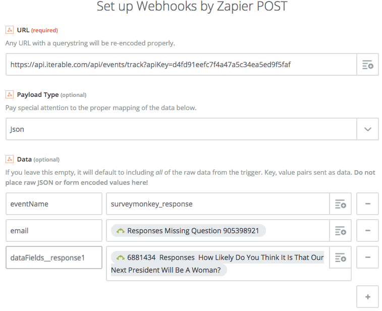 Setting up the webhook in Zapier