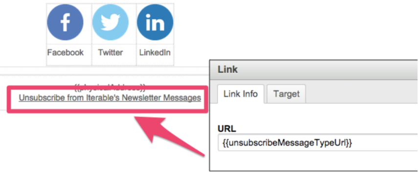 Example usage of {{unsubscribeMessageTypeUrl}}