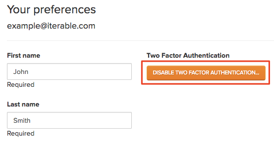 Disable two factor auth button