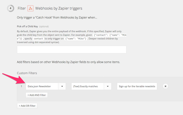 Custom filters in Zapier