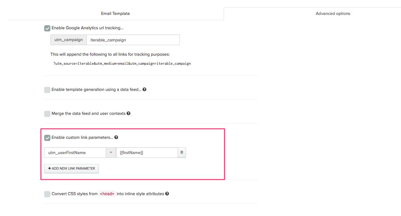 Enable custom link parameters in Iterable