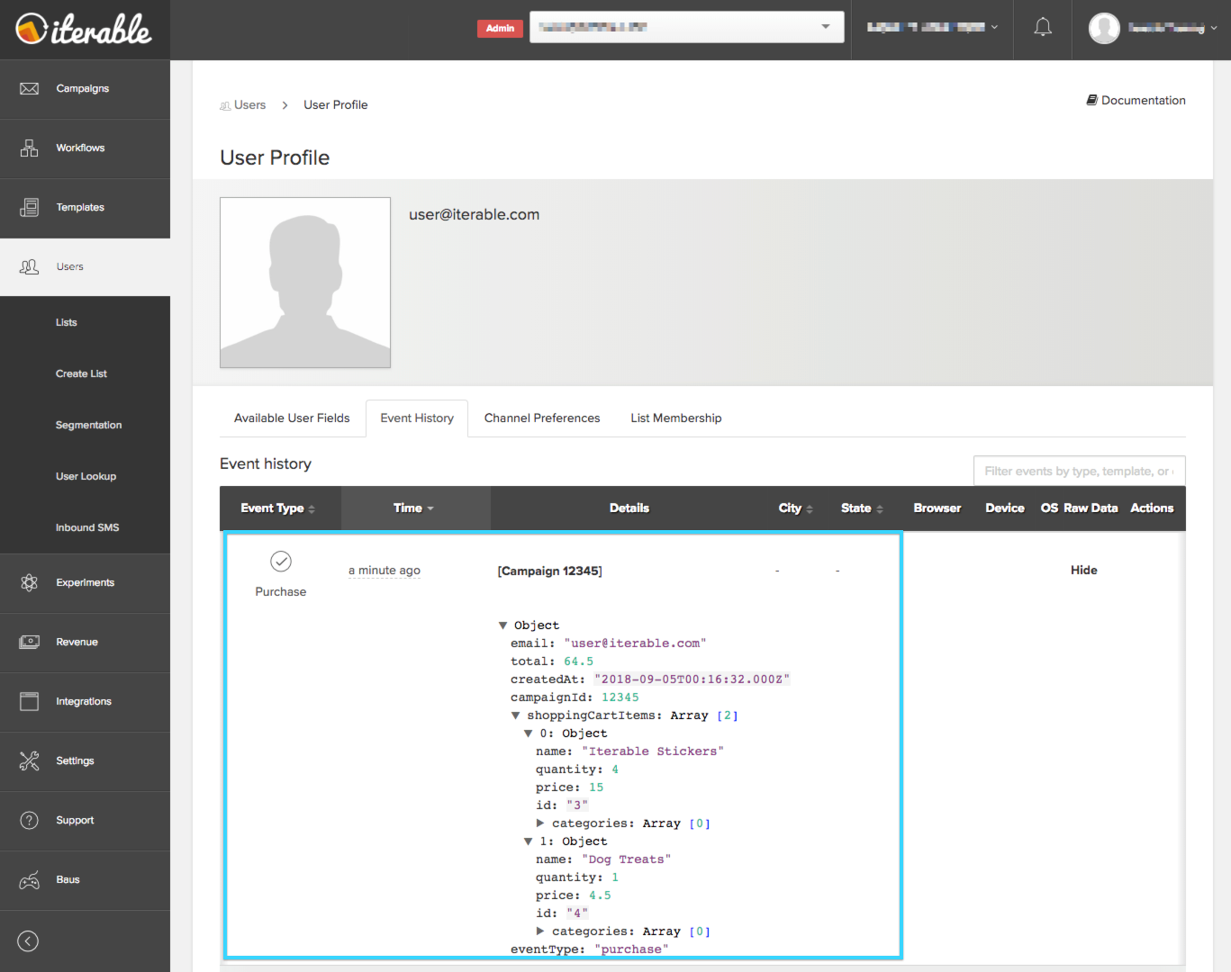 Events on a user's Iterable profile