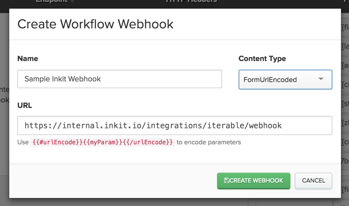 Creating an Inkit workflow webhook in Iterable