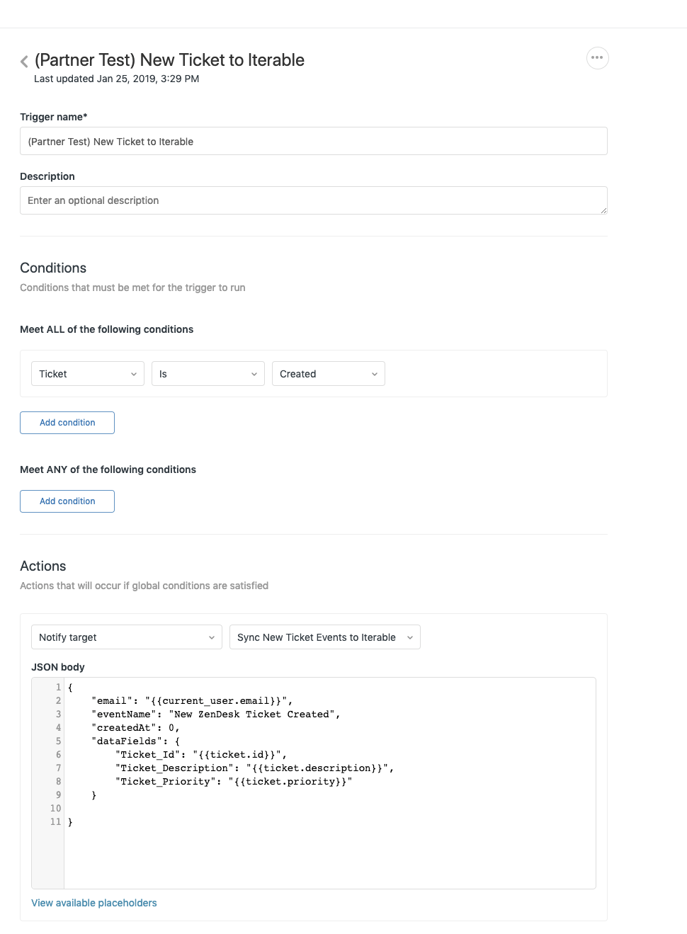 Example trigger configuration in Zendesk