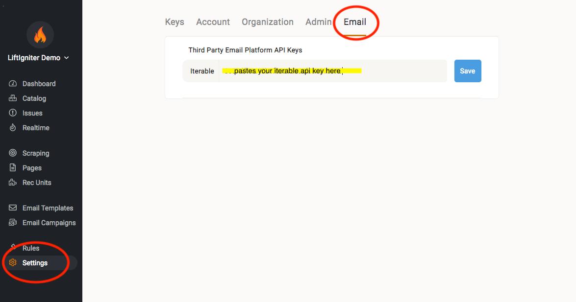Registering an Iterable API key in LiftIgniter