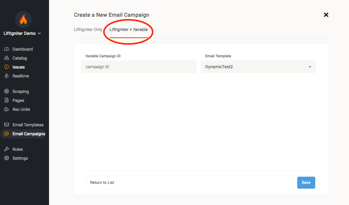 Iterable campaigns showing in LiftIgniter