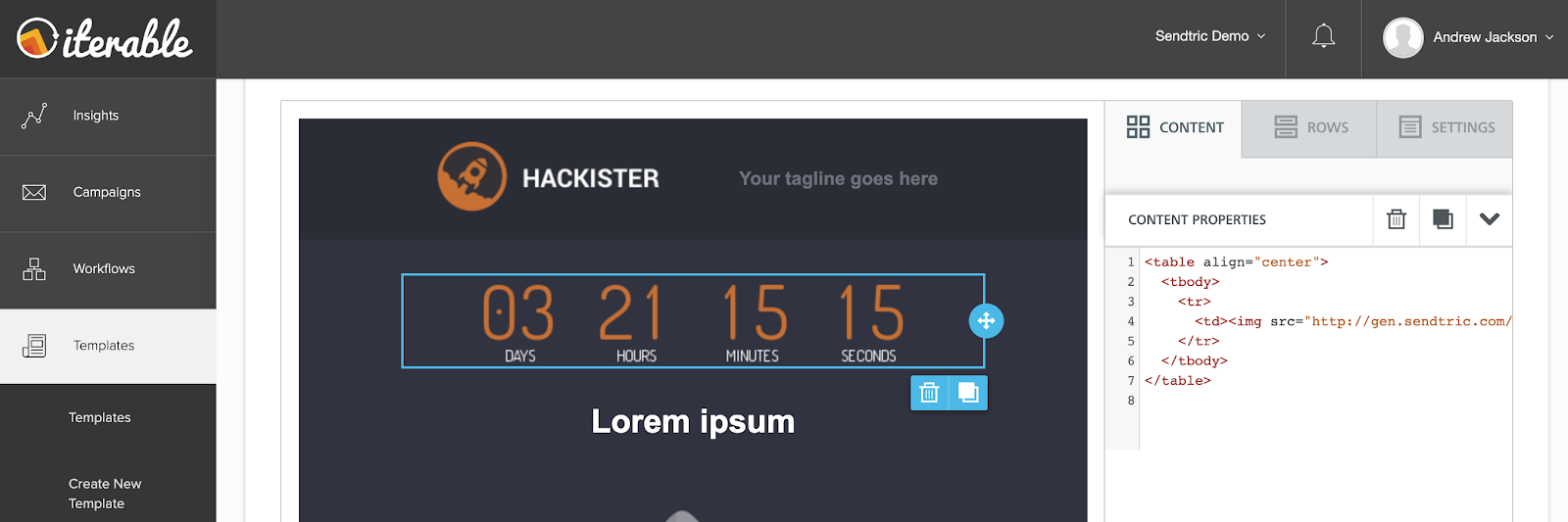 Centered Sendtric timer in Iterable
