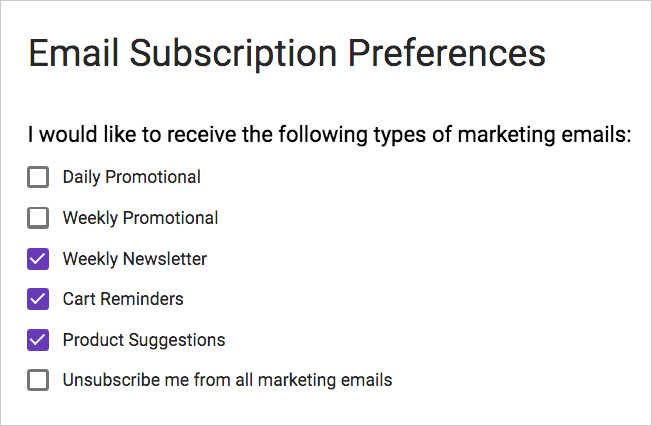 A user's subscription preferences