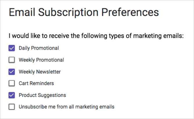 Updated subscription preferences