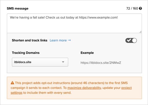 An SMS template configured to shorten links