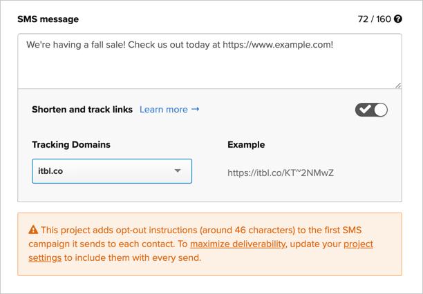 Using Iterable's default link shortening domain