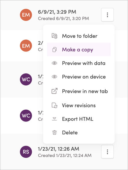 Copying a template in list view