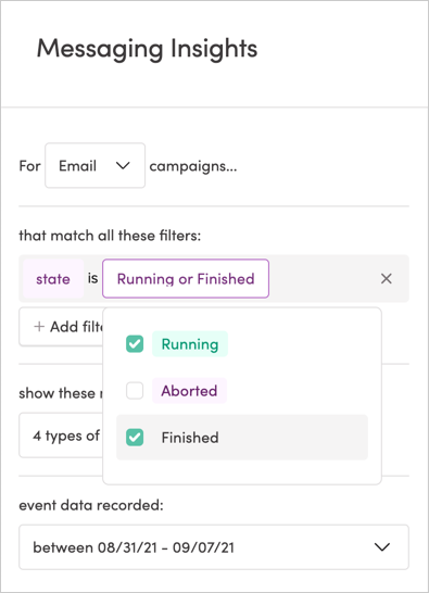 Filtering campaigns by state