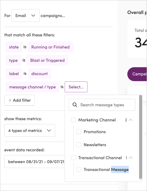 Filtering campaigns by message channel and type