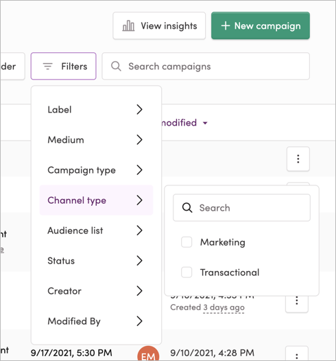 Filtering your campaigns